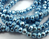 3.8mm Mid Blue PYRITE Rondelle Beads Faceted - 14 inches (sc.21208)