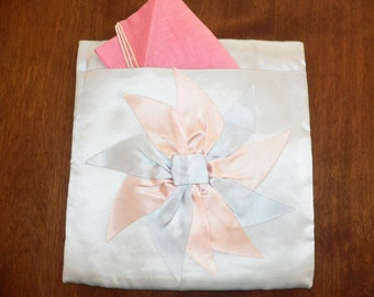 1940 Satin Hankie Holder with Blue and Pink Bow