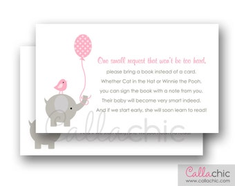 Elephant Baby Shower Book Request PRINTABLE Invitation Insert (with Balloon and Bird in Pink and Gray - Elegant Girl) 3x5 Instant Download