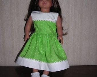 "18"" Girl Doll Clothes Lime Green Polka Dot Dress"