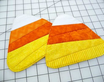 Candy Corn Mug Rugs - Coasters - Set of Two - Treasury Item