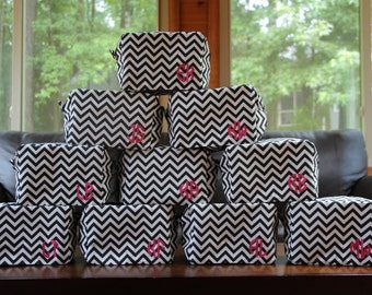 BULK monogrammed chevron cosmetic bags, perfect for bridesmaids, party favors
