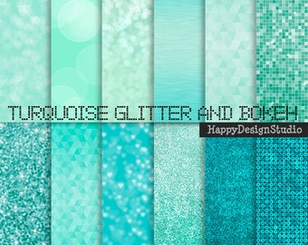 """Turquoise glitter digital paper pack, 12""""x12"""", blue textures, blue bokeh commercial use, instant download"""