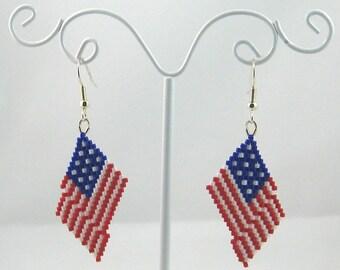 Beaded Waving American Flag Earrings