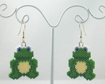 Beaded Frog Earrings