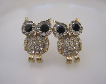 Gold Owl earrings - Stud Earrings - Rhinestone Owl Earrings - Owl Earrings - Owl Jewelry - Animal Jewelry