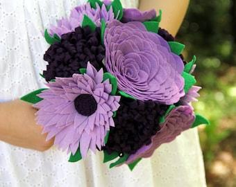 Wedding bouquet, Alternative bouquet, Felt bouquet, Felt flowers, Purple bouquet, Customized to your wedding colors!