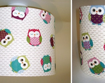 Owls nursery lampshade in ceiling or bedside options *NEW COLOURS*