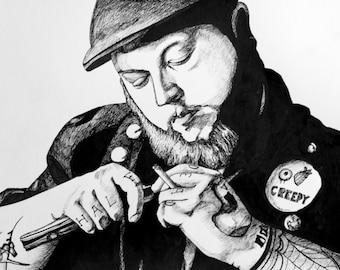 """Original 11""""x14"""" ink tattoo portrait drawing"""