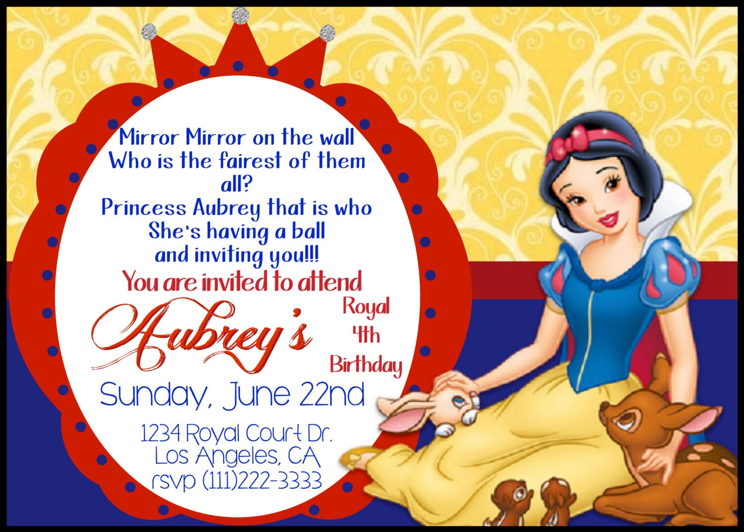 snow white birthday party invitations - Engne.euforic.co