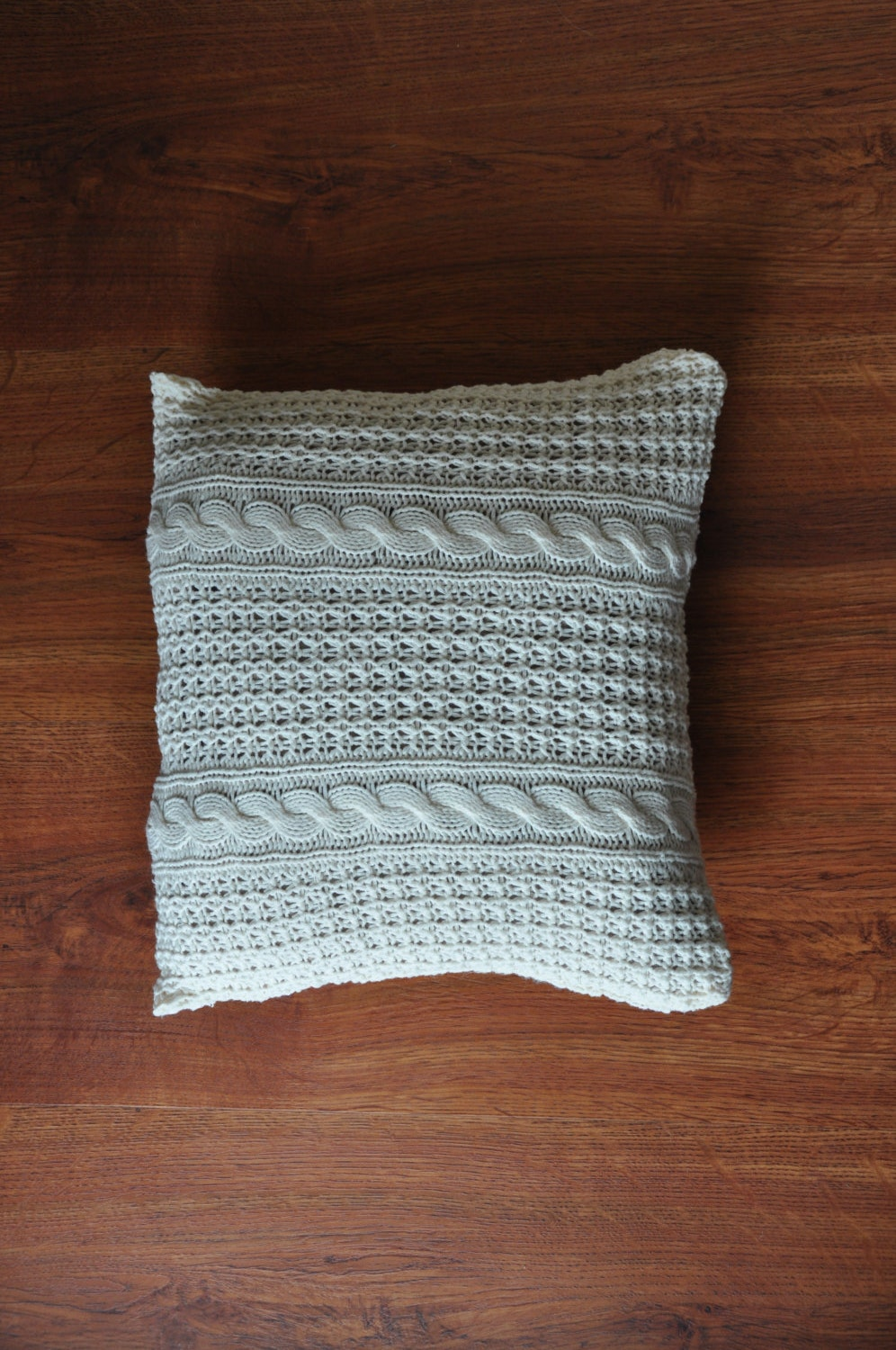 Knitting Pillow Cover : In ivory cable knit pillow cover vintage by quietunrest