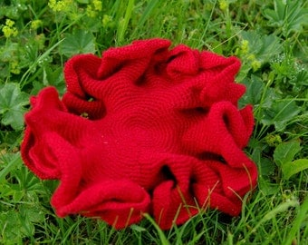 Crocheted hyperbolic plane/hyperbolic sculpture, strawberry red, ready to ship