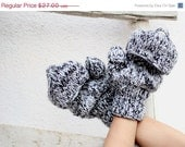Valentines Day Gift Handwarmers in Black - White - Grey Gloves-Mittens-Winter Fashion-Holiday Accessory-Woolen-Full Gloves,Gift for him