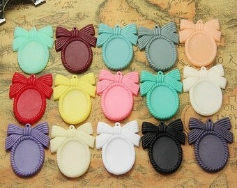 Wholesale 50pcs Vintage Resin Bowknot Flower Accessories Pendant Charm/Finding,Base Setting Tray,Fit 18x25mm Cabochon/ Picture/Cameo