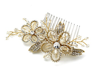 Flower Hair Comb with Swarovski Crystal Beads & Rhinestones