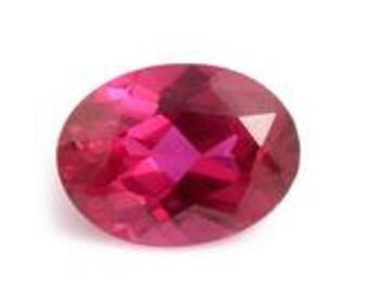 Ruby Synthetic Lab Created Oval Cut Loose Gemstone 1A Quality 8x6mm TGW 1.40 cts.