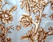 "Schumacher Catania Toile Fabric Samples 27"" x 27""  Tan and Aqua Linen Cotton + FREE SAMPLES!!!"