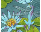 Dragonflies 5x7 open edition print - Dragons, Water and Lotus Waterlily fantasy art