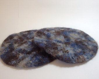 Blue and brown wool felted trivet (or potholder, or coaster)
