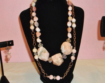 Natural Pink Opal Chunks Jewelry Set in Embellished Wooden Box