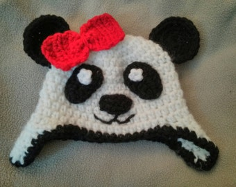 Panda Bear Crochet Hat with Ear Flaps and Optional Bow