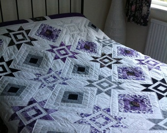 Handmade Double Purple and Grey Patchwork Quilt