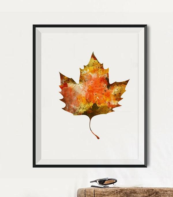 Falling Leaves Wall Decor : Oak leaf art prints fall wall watercolor