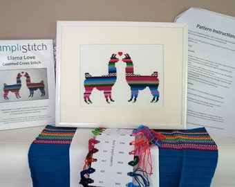 Cross Stitch Kit | Llama Love Modern Cross Stitch | Beginner Cross Stitch Pattern
