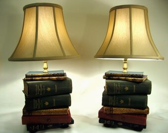 Pair Of Book Lamps, Antique Upcycled Books, Silk Lamp Shade