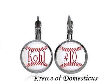 Monogrammed Baseball Earrings in Post or Leverback