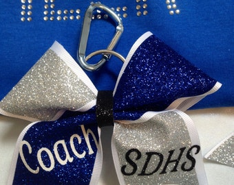 Personalized Glittered Cheer Bow Keychains