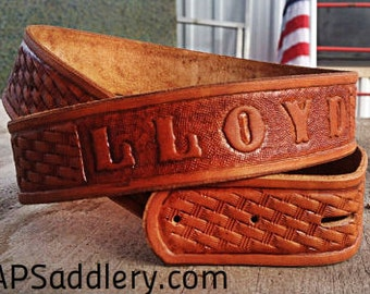 Custom Leather Belt Western Hand-tooled with Name