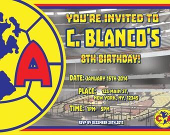 Club America Aguilas Birthday Party Invite CUSTOM - DIGITAL File