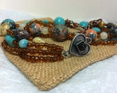 handmade STONE NECKLACE multi strand necklace bronze turquoise heart necklace beaded bib necklace