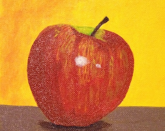 Apple Painting, Still Life, Original Painting, Acrylic Painting, Kitchen Decor, Art, 6x6 In, MelidasArt, Made to Order