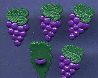 Button, Vintage Snap Together Grapes Set of 5