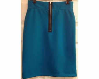 MODEST GIRLS SKIRT, Knit Pique Pencil Skirt with Exposed Zipper, Dark Teal . Colors Are Also Available  In Black, Wine, and Electric Blue