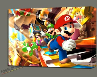 """Super Mario Galaxy Giclee Art W Gallery Wrap Ready To Hang Size 28X20X1.5"""" & Larger"""