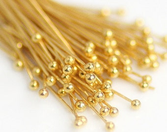 24 Gauge Gold Fill Ball Headpins, 2 Inches, 25 pieces