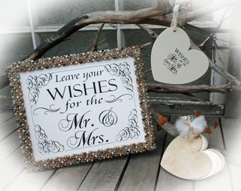 50 hearts AND Sign AND Chip covers- Wedding Guest Book Alternative- Wishing tree Guest Book