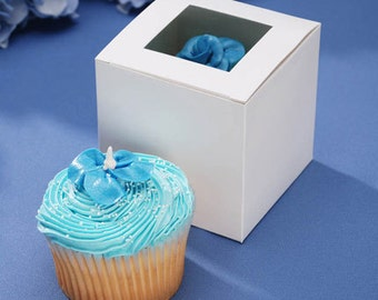 "3-1/2"" White Cupcake Box with Clear Top Window 12 Pieces per Package"