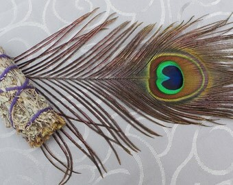 Peacock Smudge Set, Peacock Feather Smudging Set, Sage Smudging Set, Sage Smudge Stick, Peacock Feather, Smudging Kit, Sage Smudge Kit
