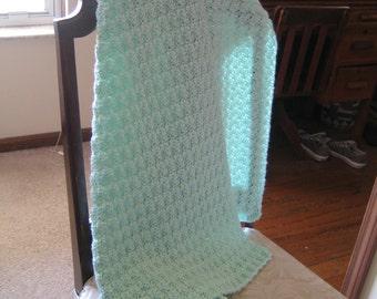 Crochet Baby Blanket  -  Light Green
