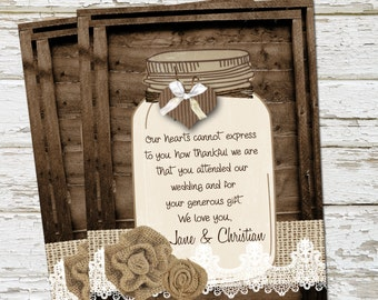 Rustic Mason Jar Thank You Card, Burlap and Lace, Personalized, Printable, Digital 4x5