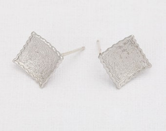 Square Post Earring Matte Rhodium- Plated - 2 Pieces <E0044-MR>