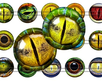 "Lizard Eyes - Digital bottle caps images - 1'' circles, 25mm, 30mm, 1.25"", 1.5"" for Jewelry Making, Digital Collage Sheets, Instant Download"