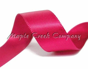 "5yd Fuchsia (Dark Pink) Double Face Satin Ribbon, 1.5"" x 5yd"
