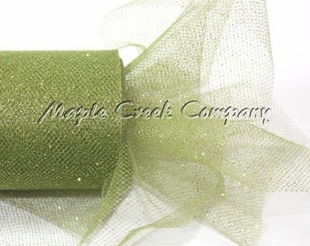 OLIVE GREEN Glitter Tulle Roll 6in x 30ft - Sparkling Tulle (10 yards)
