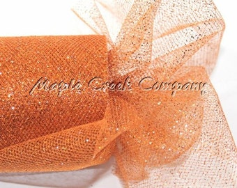 ORANGE Glitter Tulle Roll 6in x 30ft - Sparkling Tulle (10 yards)