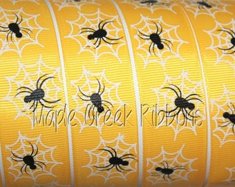"1"" Yellow Spider and Spider Web Print Grosgrain Halloween Ribbon 1"" x 1 yard"